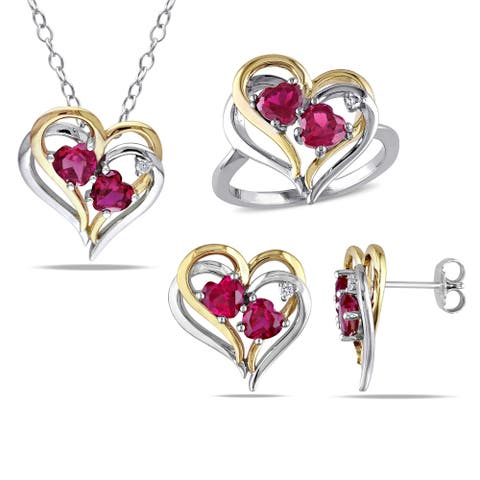 Miadora Sterling Silver Created Ruby and 1/10ct TDW Diamond Heart Earrings, Ring and Necklace Set (G