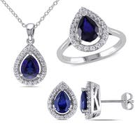 Miadora Sterling Silver Created Blue and White Sapphire Teardrop Jewelry Set