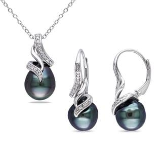 Miadora Sterling Silver Tahitian Pearl Diamond Accent Jewelry Set (9-9.5 mm)