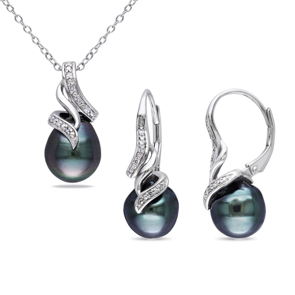 Miadora Sterling Silver Tahitian Pearl Diamond Accent Jewelry Set (9-9.5 mm)