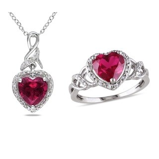 Miadora Sterling Silver Heart-cut Created Ruby and 1/7ct TDW Diamond Ring and Necklace Set (G-H, I2-I3)