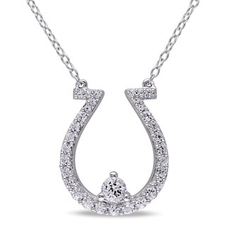 Miadora Sterling Silver Created White Sapphire Horseshoe Necklace