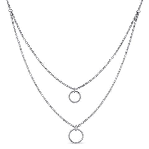 Miadora Sterling Silver 1/10ct TDW Diamond Circle Necklace - White
