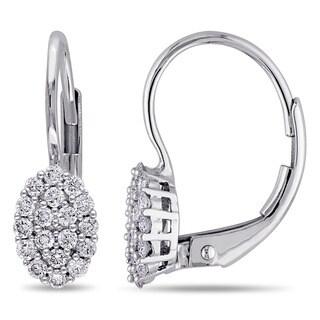 Miadora 14k White Gold 1/3ct TDW Diamond Leverback Earrings