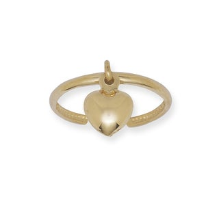 14k Yellow Gold Dangling Heart Adjustable Toe Ring