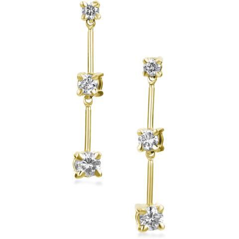 SummerRose 14k Gold 1/2ct TDW Graduated Diamond Dangle Earrings