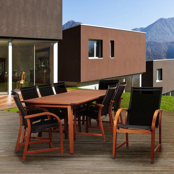 Amazonia Pucara 9-Piece Eucalyptus Patio Dining Set with Black Textile Sling