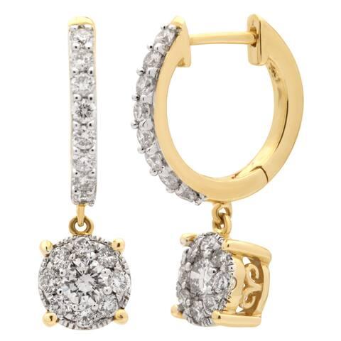 Divina 14k Yellow Gold 1ct TDW Diamond Unity Drop Hoop Earrings