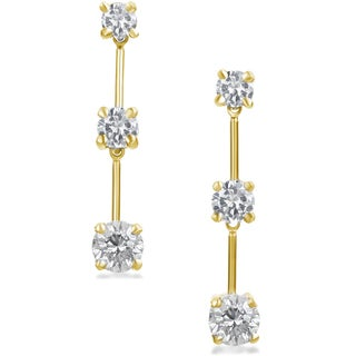 SummerRose 14k Gold 1 1/2 ct TDW Graduated Diamond Dangle Earrings (H-I, SI2-I1)