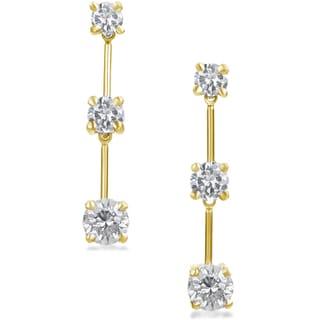 SummerRose 14k Gold 1 1/2 ct TDW Graduated Diamond Dangle Earrings