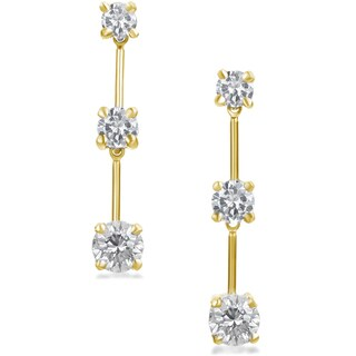 SummerRose 14k Gold 1 1/2 ct TDW Round 3-Stone Diamond Dangle Earrings