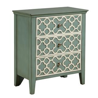 Hand Painted Distressed Aqua Green Finish Accent Chest