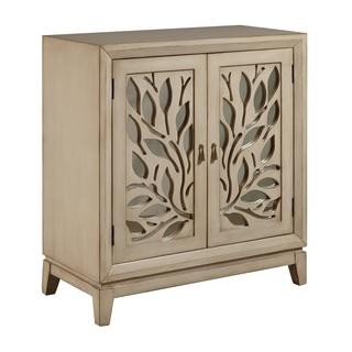 Hand Painted Distressed Antique Ivory Finish Mirrored Accent Chest