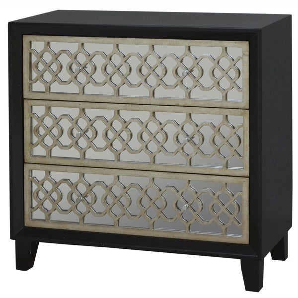 Hand Painted Distressed Black And Gold Finish Mirrored Accent Chest