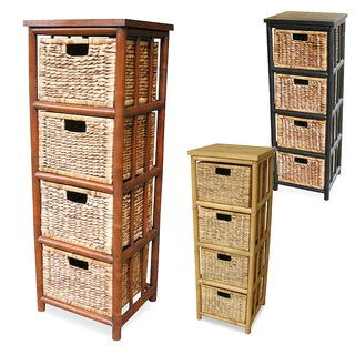 Heather Ann Open Sides Bamboo Cabinet Wtih 4 Drawers