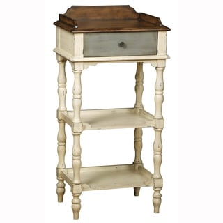 Hand Painted Distressed Weathered Ivory Finish Accent Table