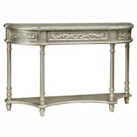 Hand Painted Distressed Silver Finish Console Table