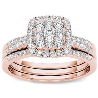 De Couer 10k Rose Gold 1/2 ct TDW Diamond Halo Engagement Ring Set (H-I, I2)