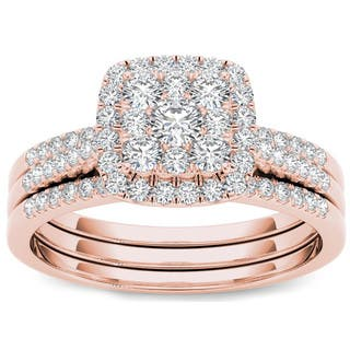 De Couer 10k Rose Gold 1/2 ct TDW Diamond Halo Engagement Ring Set https://ak1.ostkcdn.com/images/products/10067405/P17211860.jpg?impolicy=medium