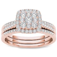 De Couer 10k Rose Gold 1/2 ct TDW Diamond Halo Engagement Ring Set