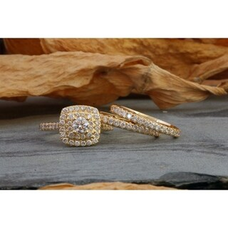 De Couer 10k Yellow Gold 1 1/2 ct TDW Diamond Halo Engagement Ring Set