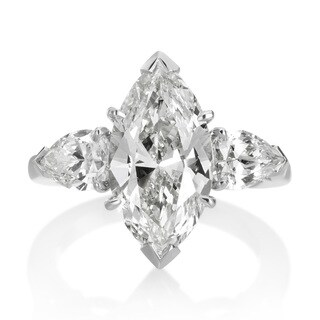 5 1/3ct 3-stone Diamond Engagement Platinum Ring - White