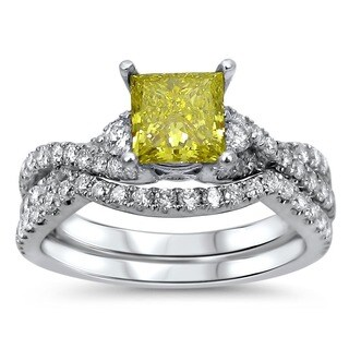 18k White Gold 1 2/5ct TDW Certified Yellow Diamond Bridal Ring Set (F-G, SI1-SI2)