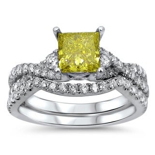 18k White Gold 1 2/5ct TDW Yellow Diamond Bridal Ring Set