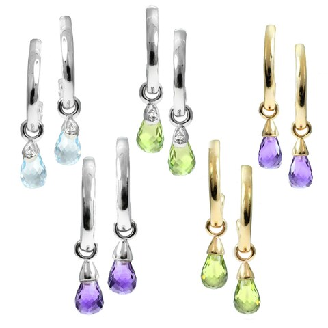 M.V. Jewels 14k Gold Gemstone Diamond Accent Curl Drop Earrings