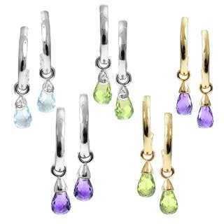 M.V. Jewels 14k Gold Gemstone Diamond Accent Curl Drop Earrings|https://ak1.ostkcdn.com/images/products/10067450/P17211884.jpg?impolicy=medium