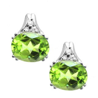 Michael Valitutti 14k White Gold Peridot and Diamond Accent Earrings