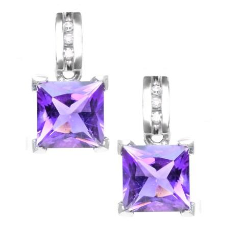 Michael Valitutti 14k White Gold Princess-cut Amethyst Diamond Accent Earrings