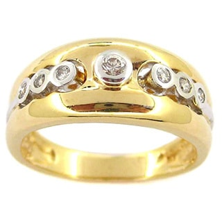 Kabella 14k Yellow Gold 1/6ct TDW Diamond Band Ring (G-H, SI1-SI2)