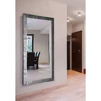 American Made Extra Large Safari Silver Wall/ Vanity Mirror - silver/black
