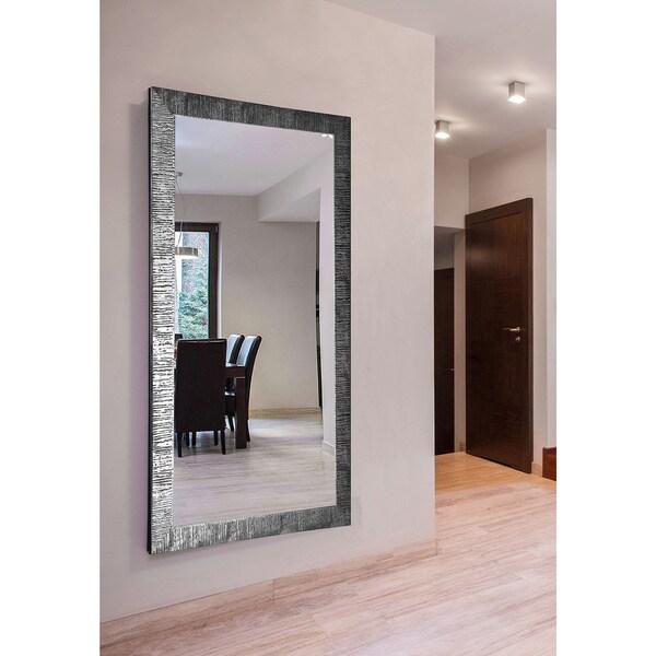 American Made Extra Large Safari Silver Wall/ Vanity Mirror - silver/black