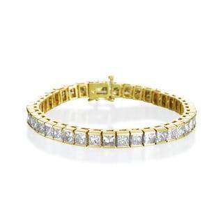 SummerRose 14k Yellow Gold 16.05ct TDW Princess-cut Diamond Bracelet