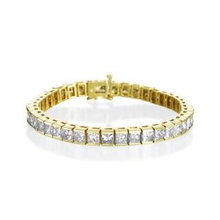 SummerRose 14k Yellow Gold 16.05ct TDW Princess-cut Diamond Tennis Bracelet