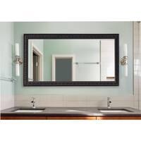 American Made Extra Large Dark Embellished Wall/ Vanity Mirror - Dark Mahogany