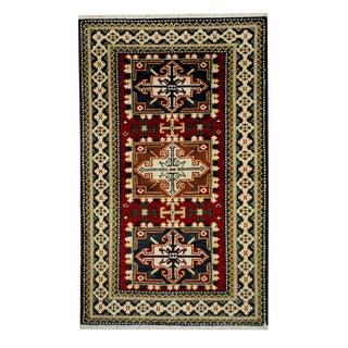Herat Oriental Indo Hand-knotted Tribal Kazak Red/ Navy Wool Rug (3'2 x 5'1)