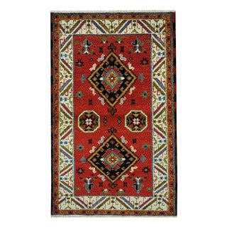 Herat Oriental Indo Hand-knotted Tribal Kazak Red/ Ivory Wool Rug (3'1 x 5')