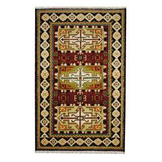Handmade One-of-a-Kind Kazak Wool Rug (India) - 3'2 x 4'11