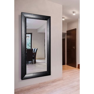 American Made Rayne Extra Large Stitched Black Leather Wall Mirror