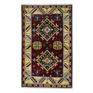 Herat Oriental Indo Hand-knotted Tribal Kazak Burgundy/ Ivory Wool Rug (3'2x 4'10)