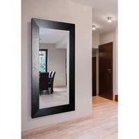 American Made Rayne Extra Large 39.5 x 78.5-inch Black Leather Vanity Wall Mirror