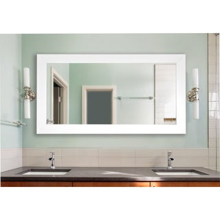 American Made Rayne Extra Large White Satin Wide Wall/ VanityMirror