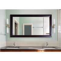 American Made Extra Large 39.25 x 78.25-inch Espresso Leather Vanity Wall Mirror - Espresso