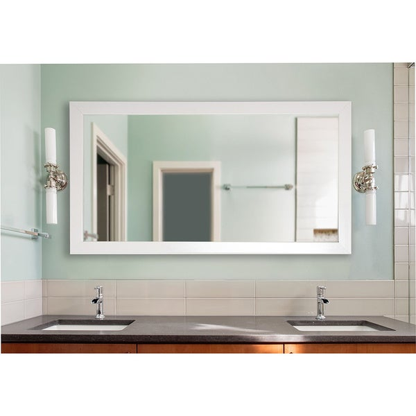American Made Extra Large Glossy White Wall/ Vanity Mirror - White