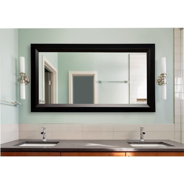 American Made Rayne Extra Large 39.25 x 78.25-inch Brown Lining Vanity Wall Mirror - Black/Brown