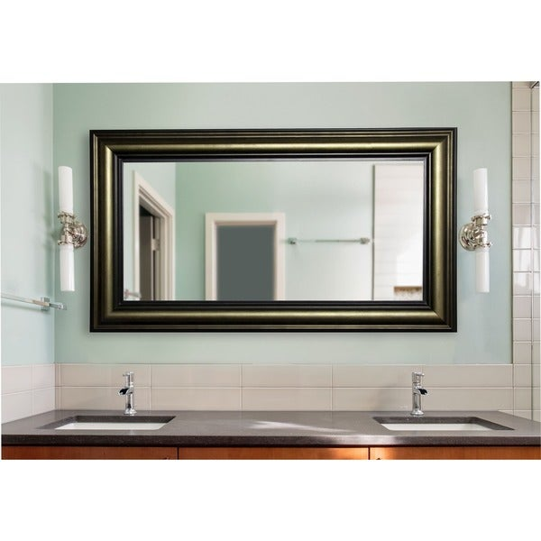 American Made Rayne Extra Large 42.5 x 81.4-inch Stepped Antiqued Vanity Wall Mirror - Bronze/Black