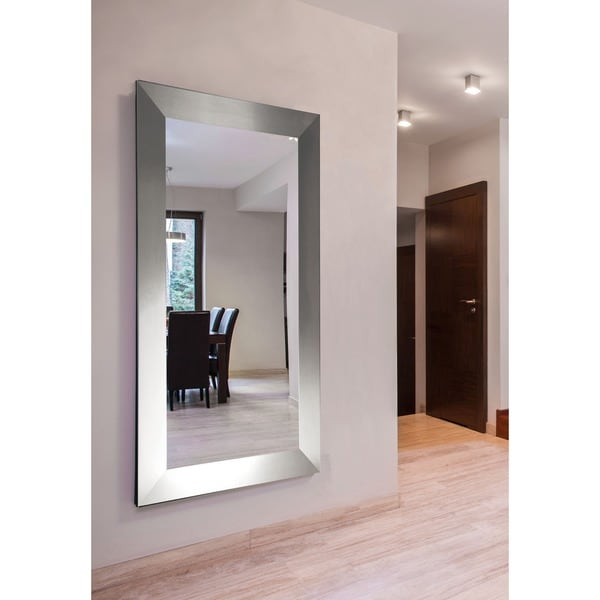 American made rayne extra large silver wide floor vanity mirror free shipping today for Floor vanity mirror
